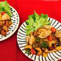 鶏肉とカシューナッツのカラフルパプリカ炒め