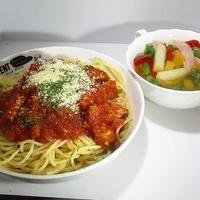 スパゲッティミートソースとベーコンアスパラスープ