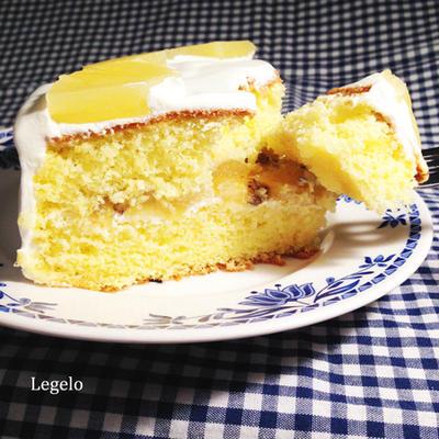 昔ながらのスポンジでショートケーキ♪バナナ&パイナップル☆意外と節約お菓子!?