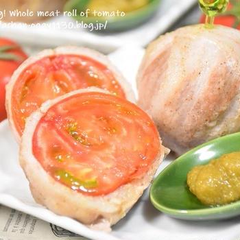 【アンバサダー】まるごとトマトの豚肉巻き 柚子胡椒添え