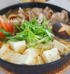 スキレットで一人鍋♪豚バラ肉とトマトのすき焼き