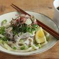 【簡単麺】豚しゃぶと薬味たっぷり冷やしうどん