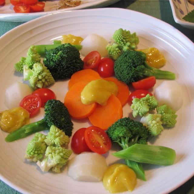 茹でた野菜のサラダと自家製味噌マヨネーズ  1・19・2013