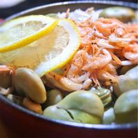 そら豆と桜えびの炊き込みご飯、レモン風味