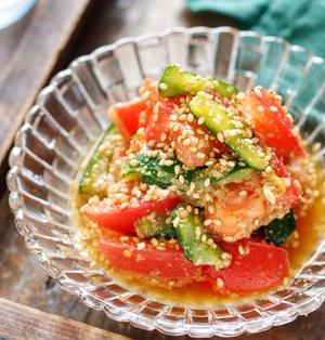 トマトとかち割りきゅうりの香味サラダ【#簡単 #節約 #スピード #副菜】