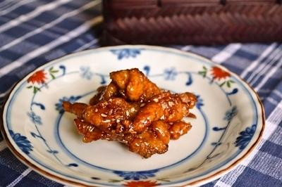 薄切り豚肉の唐揚げ風甘辛醤油ダレ