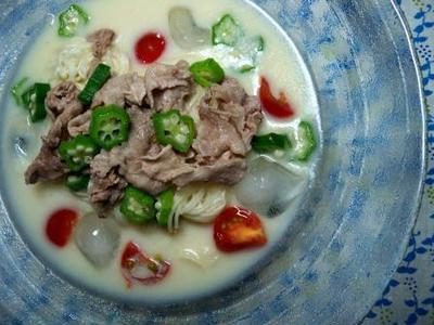 7月その10 冷やし豆乳素麺と秋刀魚のバーベキューソース