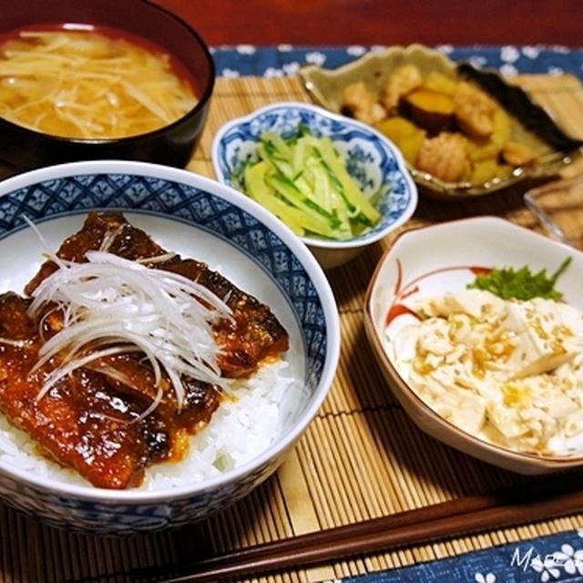 好きな組み合わせの晩ご飯 <サンマの韓国風照り焼き丼>