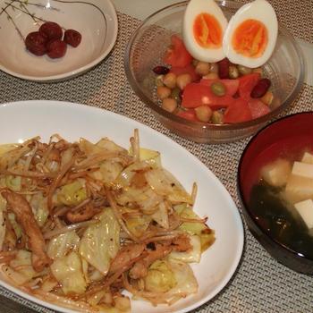 鶏せせりと野菜のポン酢炒め