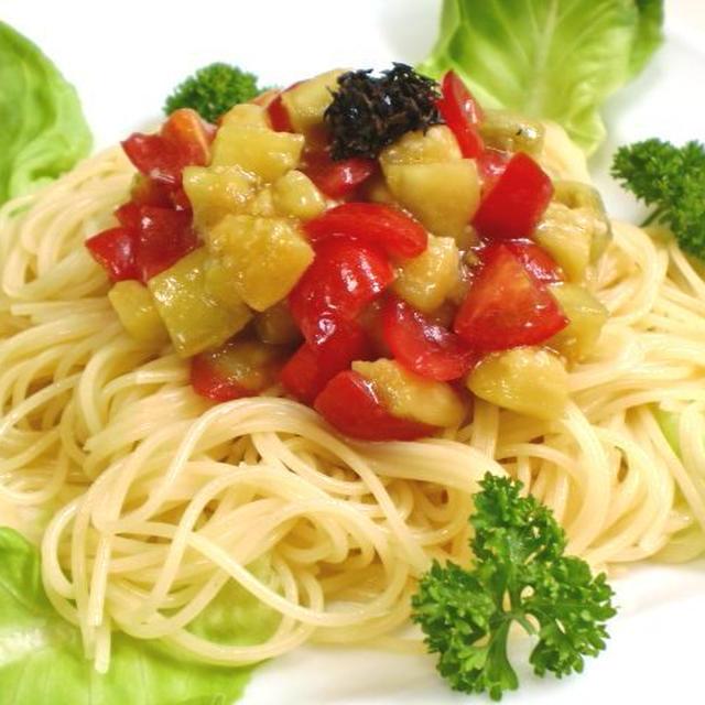 焼きナスとミニトマトのカッペリーニ 柚子胡椒風味