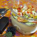 ハロウィンの日にもう一品欲しい時に♡蒸してヘルシー!タンドリー風な海老と野菜の蒸しもの♪