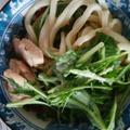 鶏肉と水菜の豆乳うどん