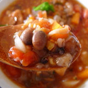 大豆出汁:十六穀米の大豆トマトスープ
