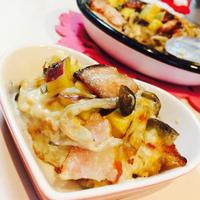 キノコとサツマイモたっぷり!食パンでポテトラザニア♪