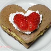 ホットケーキミックスでハートのチョコパンケーキ
