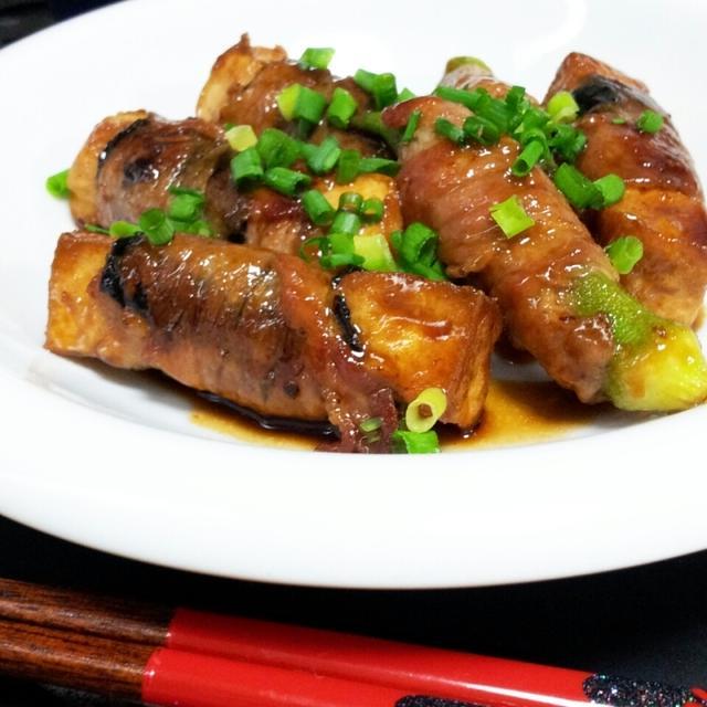 厚揚げの甘辛豚海苔巻き❀梅しそ風味