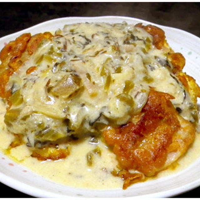 鶏肉ピカタの高菜クリーム