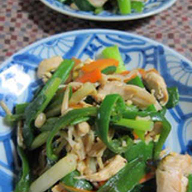 「鶏ささみ肉と野菜のカレー炒め」