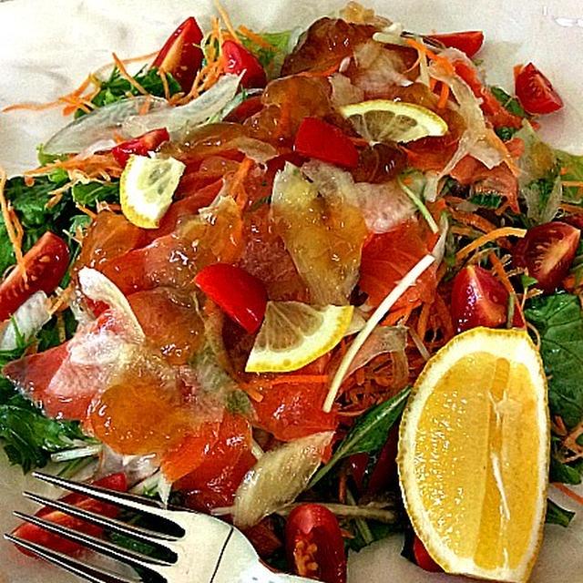 スモークサーモン水菜サラダ和風ジュレ