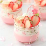 桜の香る苺みるくプリン (ひな祭りにも)