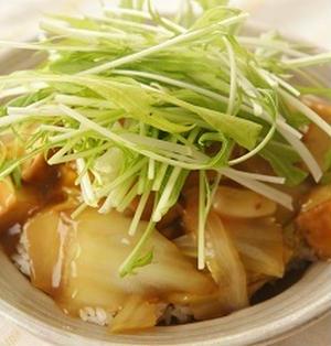 シャキシャキ水菜と白菜のあんかけ丼