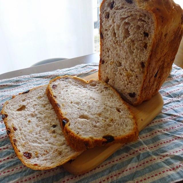 ホームベーカリー任せ!クルミとレーズンの食パン