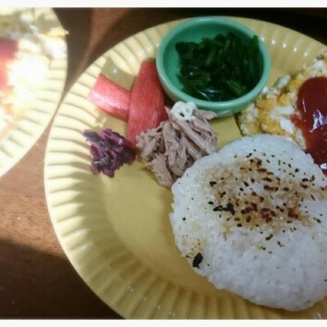 朝ごはん&咲夢Jr.のおむすび&一人昼ご飯