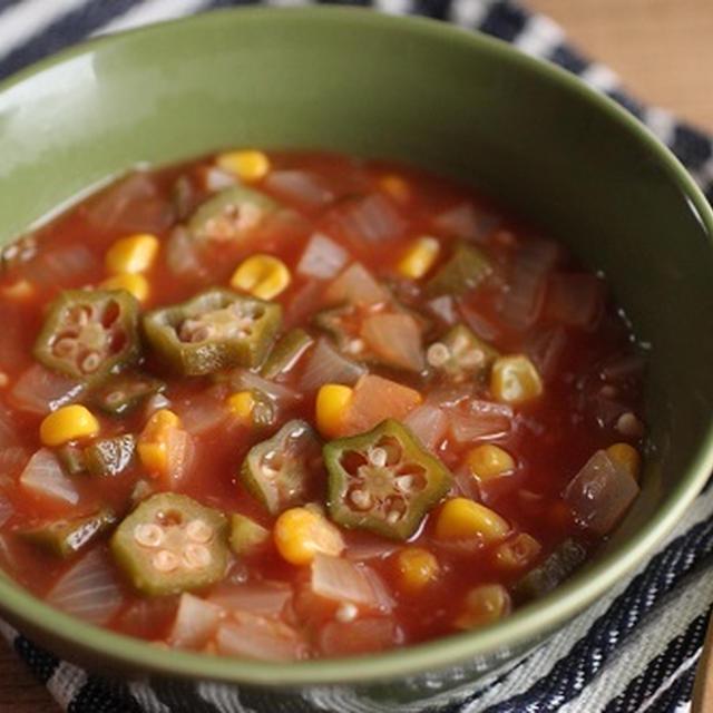 電子レンジで簡単♪トマトジュースのガンボ風スープ