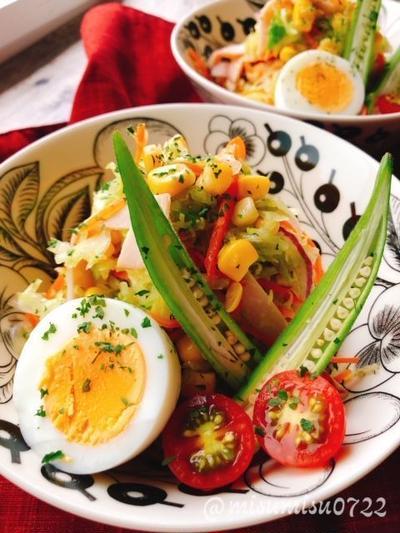 ハムとコーンのコールスローサラダ