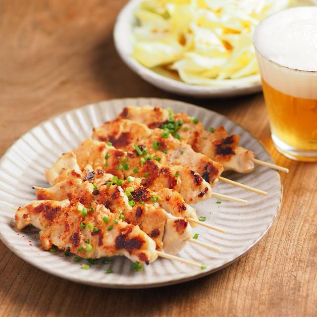 鶏むね肉の味噌焼鳥 、 味噌で鶏むね肉の旨味アップ!