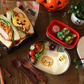 【親子弁】ちょっぴりハロウィンな♪トルコライス風サンドとハムチーズサンド弁当