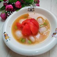 久しぶりのお料理レシピ★夏☆トマトと枝豆の冷たい味噌スープ★
