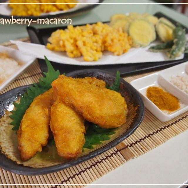 鳥ささみ肉のカレー味の天ぷらと夏野菜の天ぷら