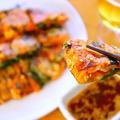【韓国料理】もちもち食感の豚キムチチーズチヂミの作り方レシピ