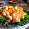 ふわふわ卵とエビ豆腐団子のチリソース〜冷めても美味しい〜