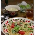 春野菜とカニのサラダ風パスタ。