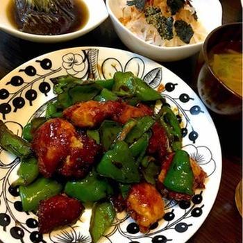 鶏ささみの黒酢炒めの晩ご飯