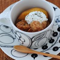 2月6日 木曜日 おべんとなし。スパイスチャイのシャーベットと、干し貝柱湯豆腐&絹揚げと林檎のカレー(前日の晩ごはん)