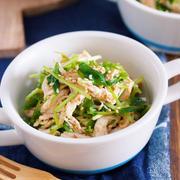 レンジ&ワンボウルでラクラク♪やみつき♪『蒸し鶏と豆苗の中華風ごま酢あえ』