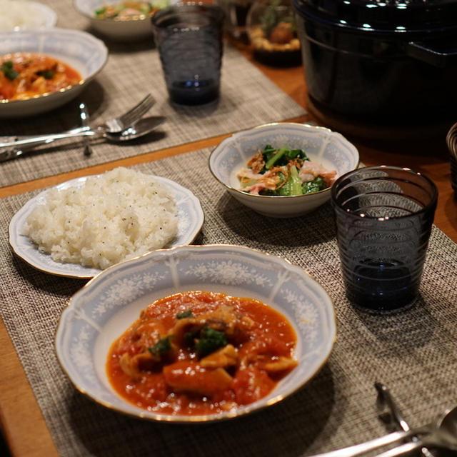 豚ばら肉のトマト煮&ロメインレタスのマヨ炒めサラダ