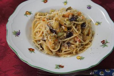 アメーラトマトとナスのトマトソーススパゲッティ