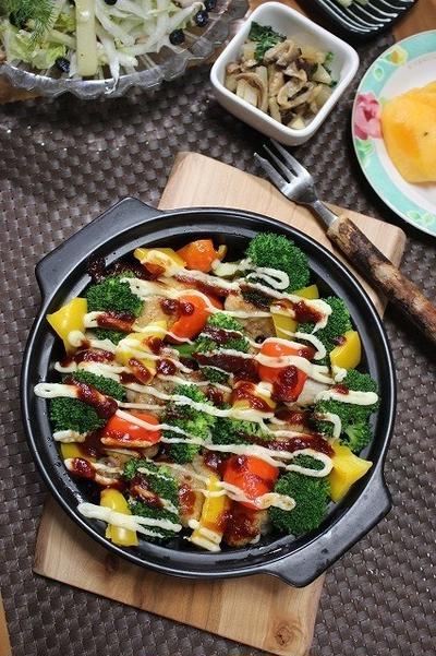 鶏肉と野菜のマヨソース焼き♪時短で作る