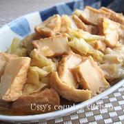 めんつゆ+醤油+砂糖で簡単!厚揚げとキャベツの煮物