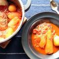 圧力鍋で加圧1分!野菜もごろっと♪ハンバーグトマト煮こみ by ひなちゅんさん