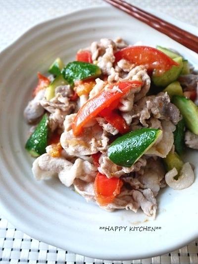 豚肉と夏野菜のシンプル塩麹炒め