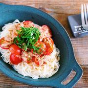 何度も食べたい♡食欲がなくてもツルッと完食♡『トマトとツナの和風うまだしあえ麺』【レシピブログ連載】