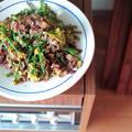 牛肉と菜花のオイスター炒め物