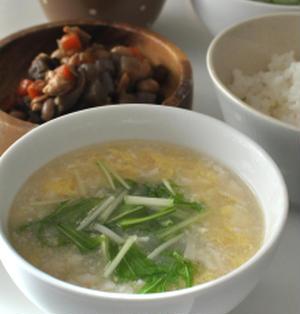 くずし豆腐のスープであさごはん