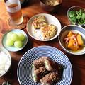 オクラの牛肉巻き。かぼちゃとベーコンの煮物。