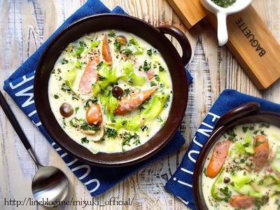 ♡チーズdeこく旨♡ソーセージとキャベツの豆乳スープ♡【#節約#おかずスープ#ヘルシー】